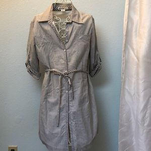 Kensie Lined shirt dress striped with tie